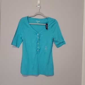Old Navy ruffle front henley
